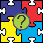 Colored jigsaw puzzle pieces with a question mark in the center